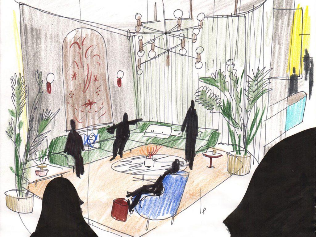 Fritz Hotel, esquisse de Jaime Hayon pour Fritz Hansen