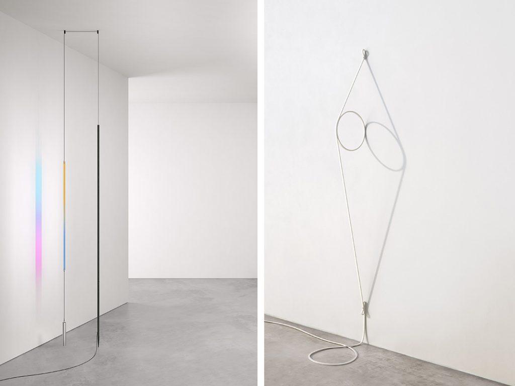 Blush lamp (gauche) et WireRing (droite), Formafantasma, Flos