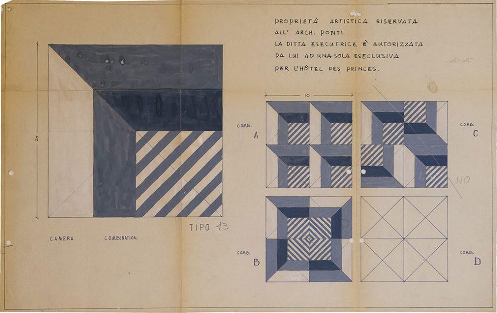 Dessin de Gio Ponti, Ceramica Francesco De Maio, décor type 13