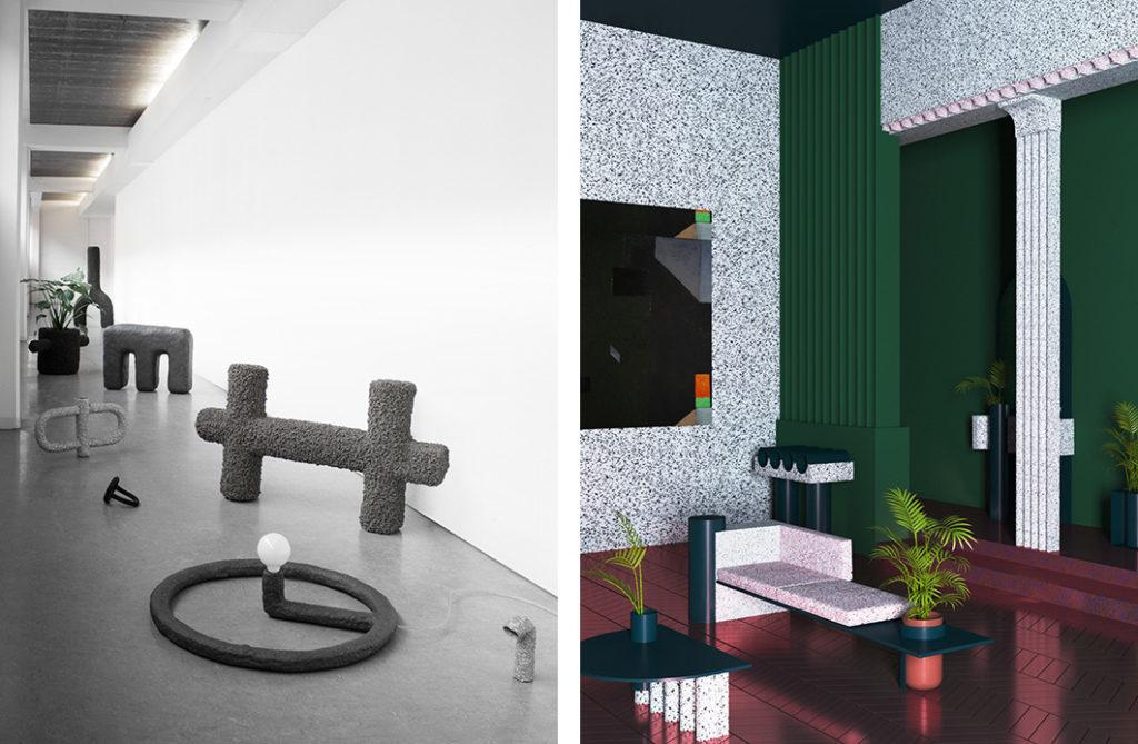 Ventura Future. À gauche Tactile monoliths de Studio Stine Mikkelsen, à droite Supaform de Maxim Scherbakov