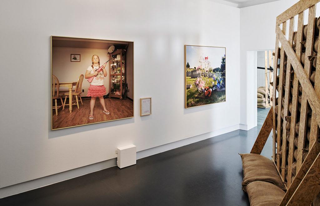 Vue de l'exposition 'ligne de mire', mudac, Lausanne 14.03 – 29.08.2018 Œuvres de An Sofie Kesteleyn